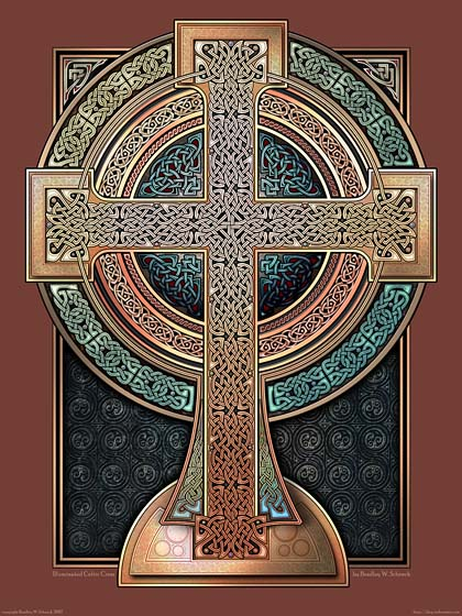 Illuminated Celtic Cross Archival Print