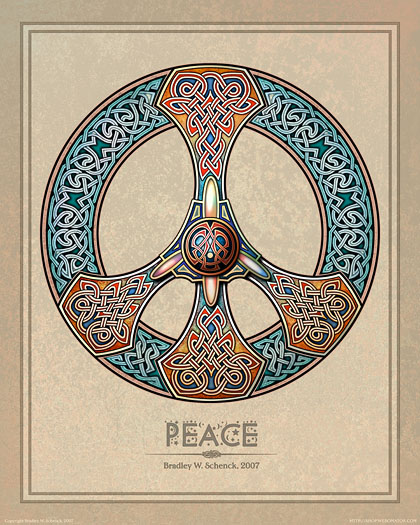 Celtic Knotwork Peace Sign Print From Archival Celtic Art Prints