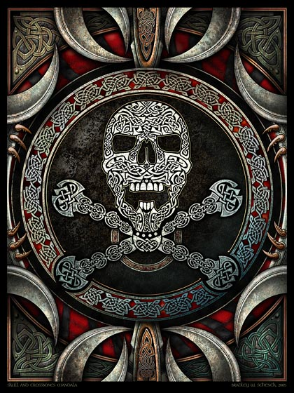 Skull and Crossbones Mandala Archival Print