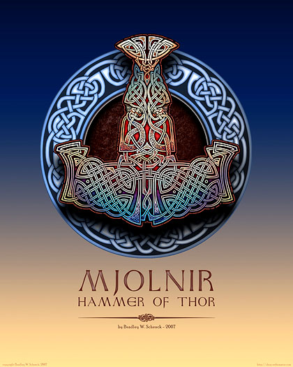 mjolnir hammer of thor print from archival celtic art prints