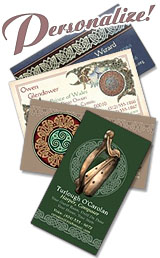 Celtic Art Designs on custom business cards