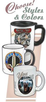 Travel Mugs, Ceramic Mugs, & Frosted Glass Mugs